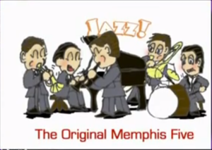 The OM5, Left to Right: Phil Napoleon on trumpet, Frank Signorelli on piano, Jimmy Lytell on clarinet, Miff Mole on trombone (with Charles Panelli subbing in the above clips) and Jack Roth on drums.