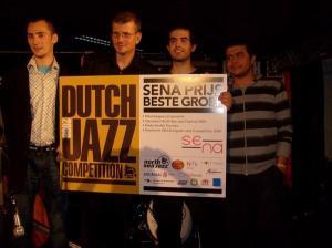 Alex Simu with Srdjan Ivanovic's Quartet at the Dutch Jazz Competition, 2008 (Photo courtesy of Simu)