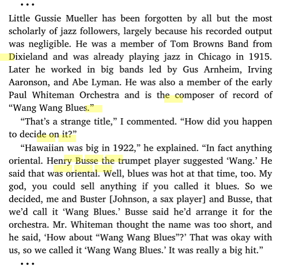 """Wang Wang Blues"" from I REMEMBER JAZZ by Al Rose"